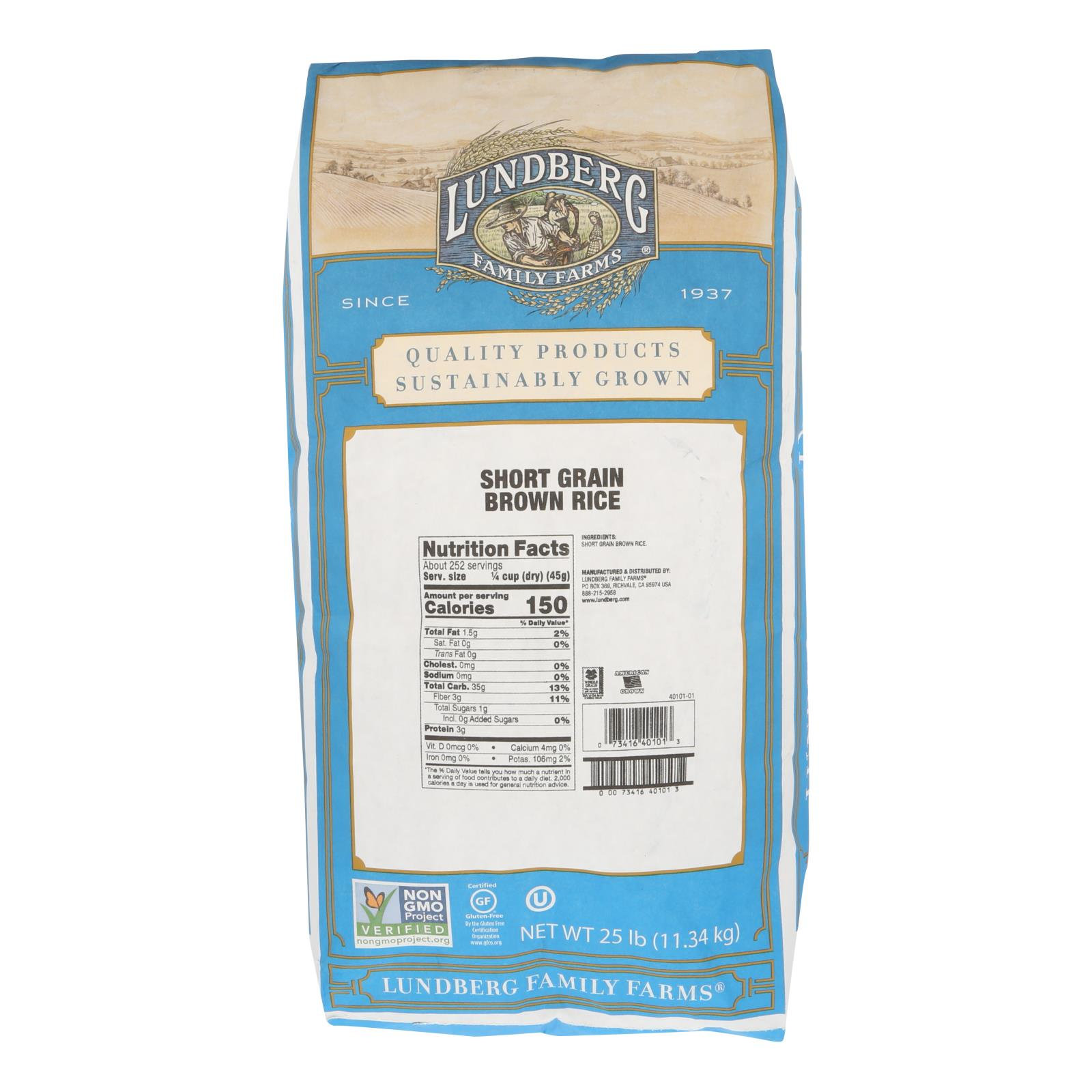 Lundberg Family Farms Brown Short Grain Rice - Case of 25 lbs %count(alt)