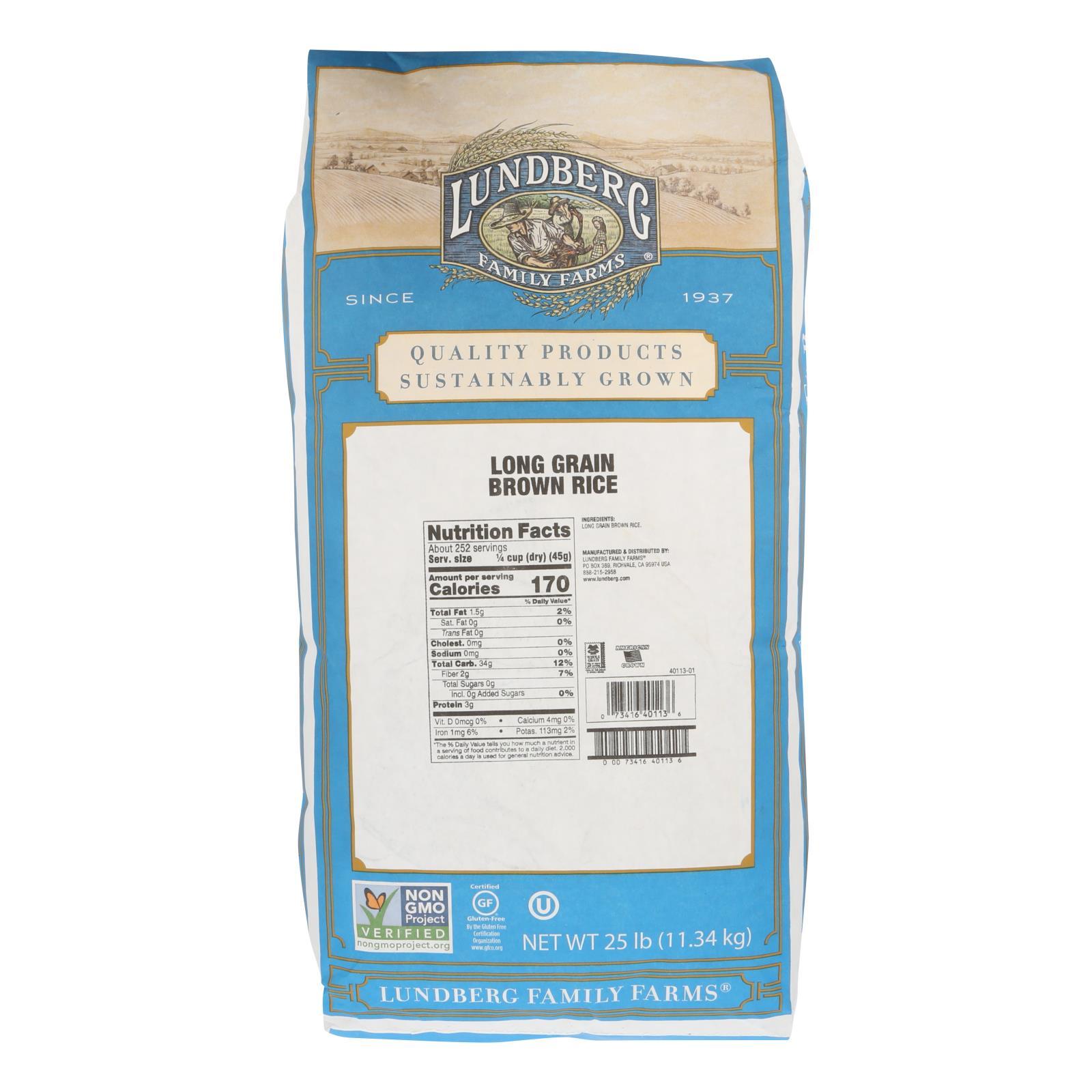 Lundberg Family Farms Eco - Farmed Long Grain Brown Rice - Case of 25 lbs %count(alt)