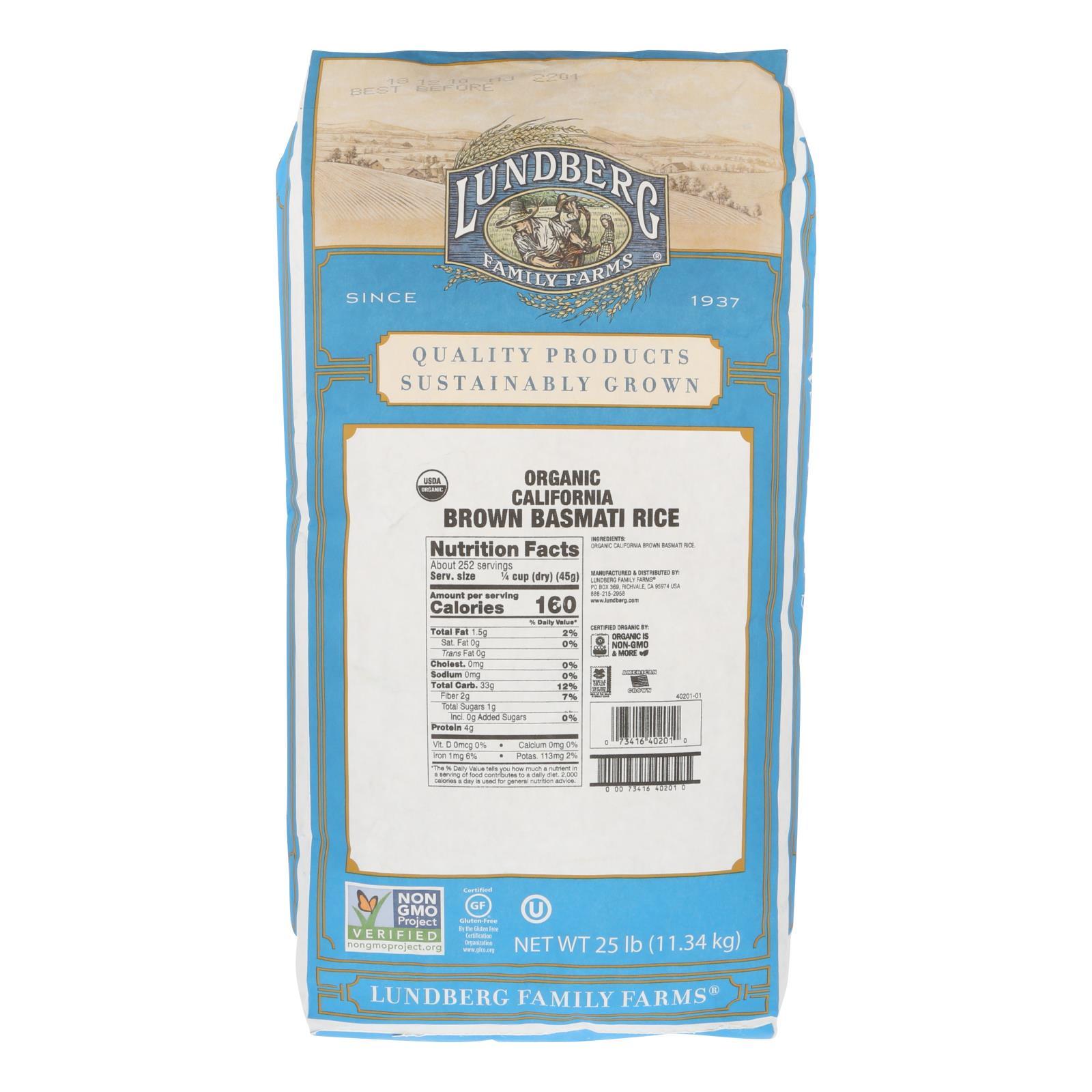 Lundberg Family Farms Organic Rice - Brown Basmati - Case of 25 lbs %count(alt)