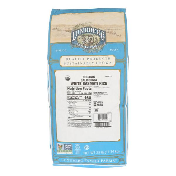 Lundberg Family Farms Organic California White Basmati Rice - Case of 25 lbs %count(alt)