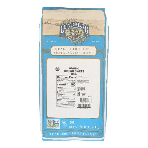 Lundberg Family Farms Organic Brown Sweet Rice - Case of 25 lbs %count(alt)