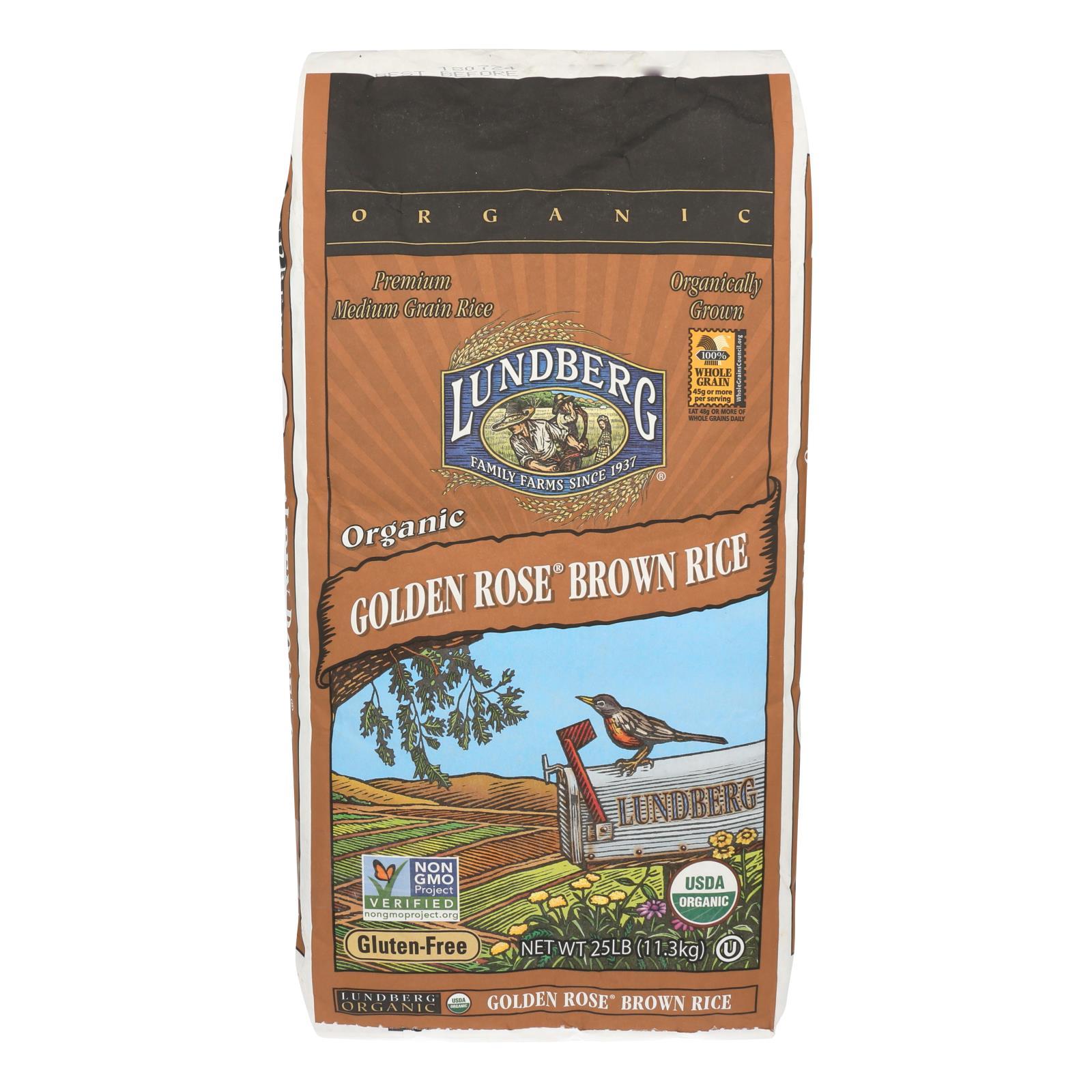 Lundberg Family Farms Organic Golden Rose Medium Grain Brown Rice - Case of 25 lbs %count(alt)