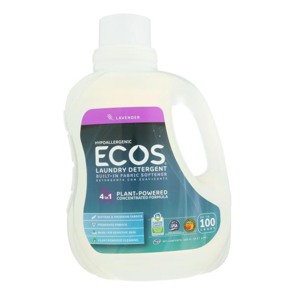 Earth Friendly Ecos Ultra 2x All Natural Laundry Detergent - Lavender - Case of 4 - 100 fl oz %count(alt)
