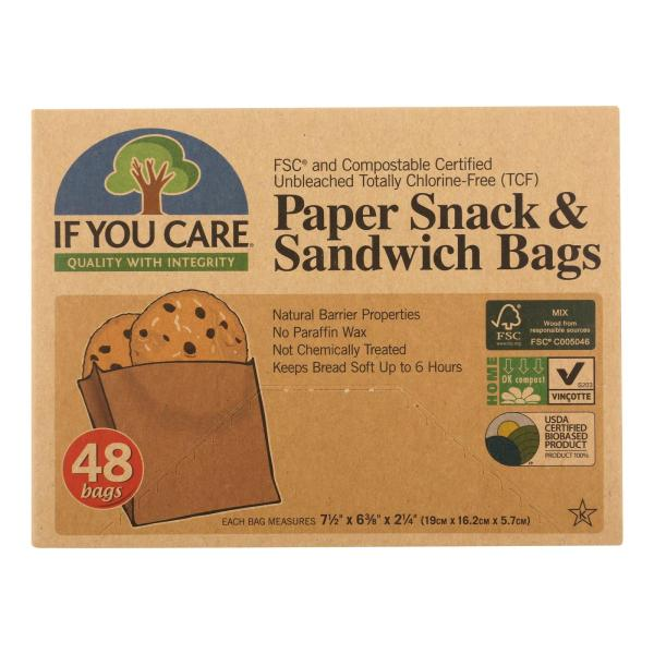 If You Care Bags - Snack and Sandwich - Paper - Unbleached - 48 Count - Case of 12 %count(alt)