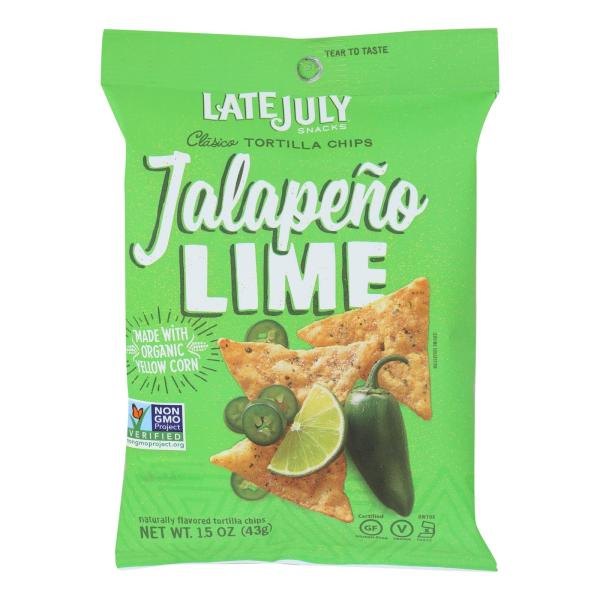 Late July Snacks Tortilla Chips - Jalapeno Lime Clasico - Case of 24 - 1.5 oz. %count(alt)