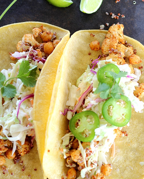 BBQ Cauliflower Tacos with Chickpeas and Quinoa