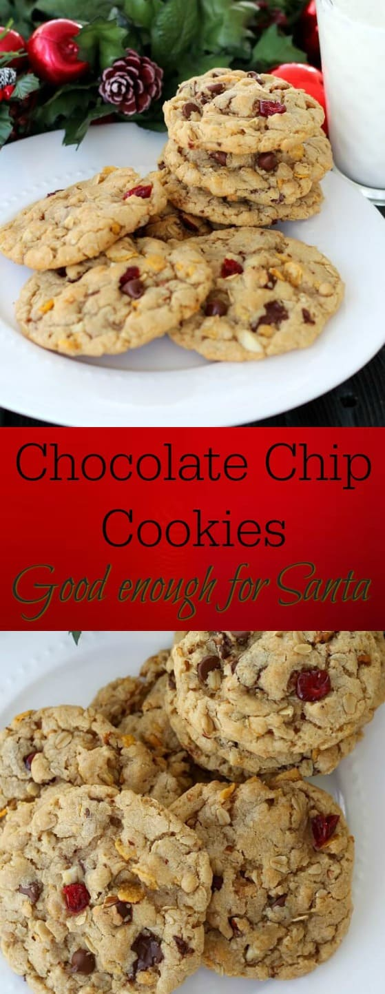 Chocolate Chip Cookies good enough for Santa are chockfull of chocolate chips, oats, nuts, and dried cranberries.