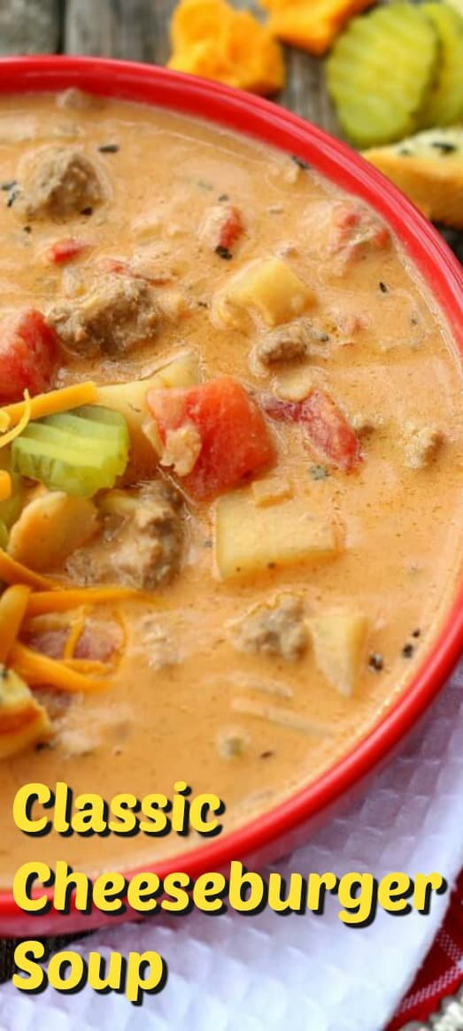 Classic Cheeseburger Soup tastes JUST LIKE an All-American drive in Cheeseburger. And it's start to finish in 30 minutes! #30minutemeals #soup #cheeseburgers #cheese
