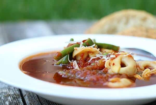 This Beef Tortellini Soup recipe is delicious in 20 minutes. Diced tomatoes with green chiles, beef broth, basil, tortellini and fresh beans. Surprising and satisftying.