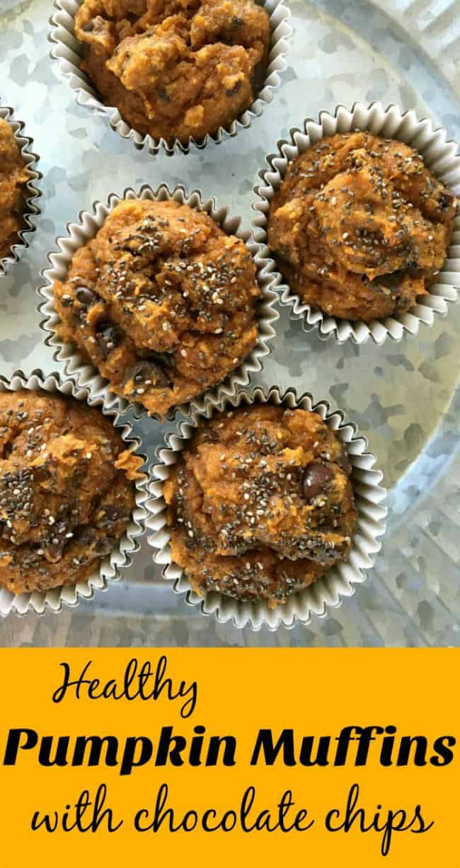 Pumpkin Muffins made with whole-wheat and almond flour, coconut oil, dark chocolate and of course, pumpkin puree. Moist and tasty, mix in one bowl start to finish in under 30 minutes.