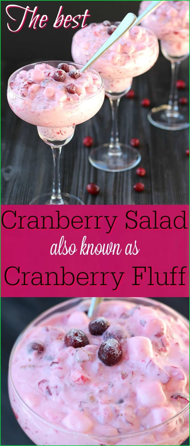 This really is the best cranberry salad ever! Made with fresh cranberries, marshmallows, pineapple and whipped cream, this will become a requested party staple.