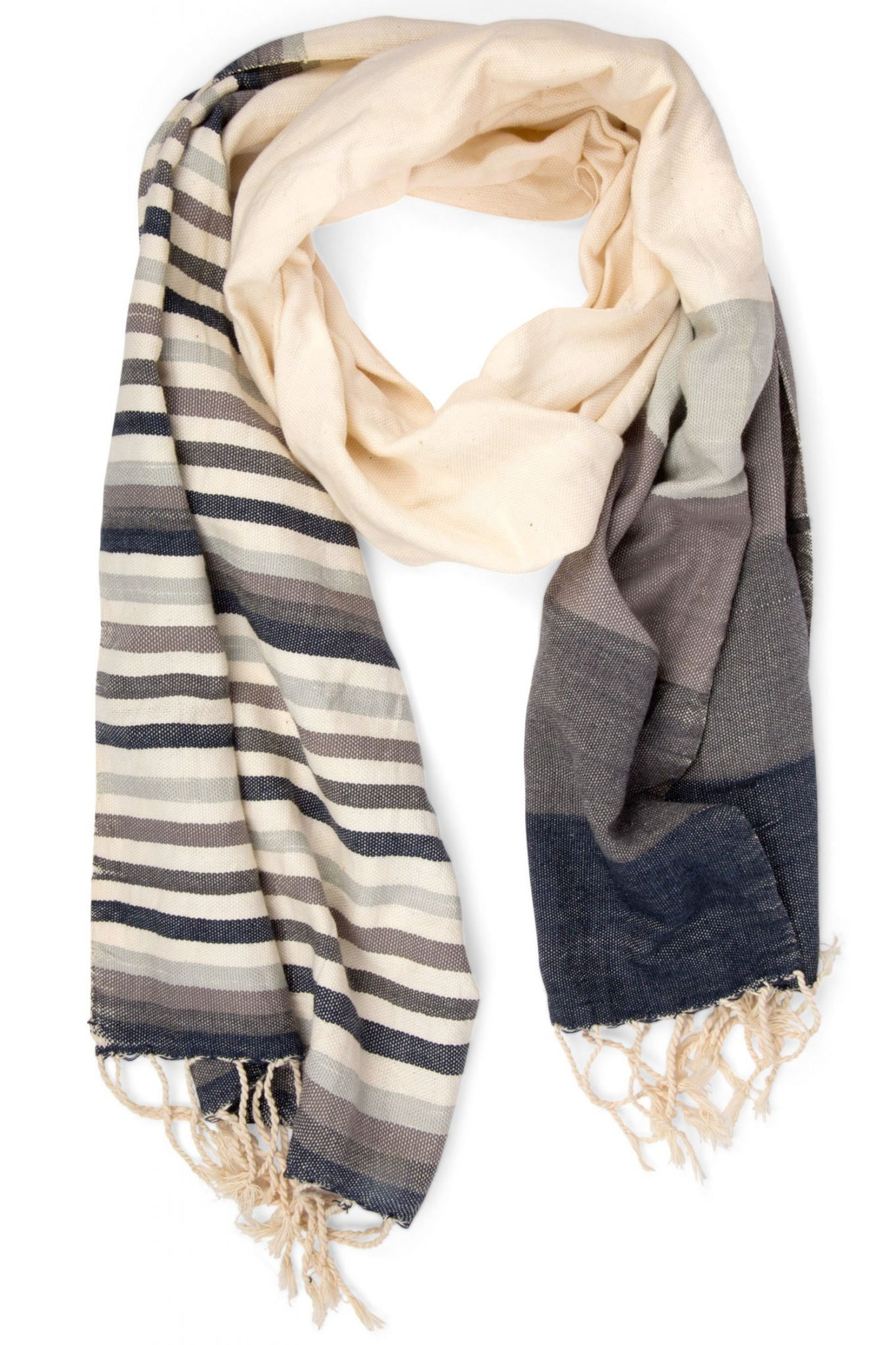 Ten Thousand Villages Hand Loomed Egyptian Cotton Scarftorm Shades Scarf