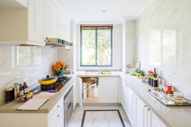 interior of elegant kitchen with window