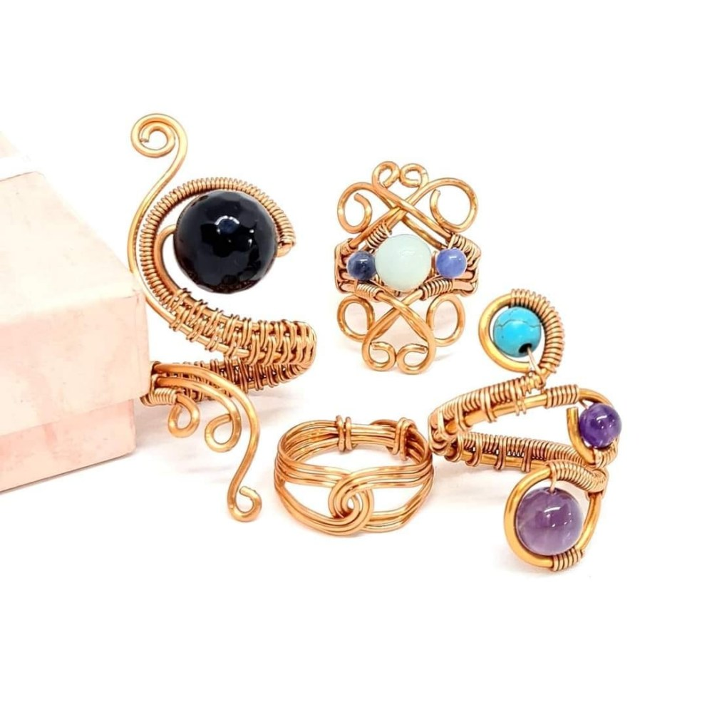 Handcrafted Pure Copper Rings with Gemstones