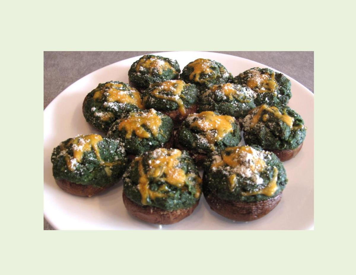 Mushroom Caps with Spinach Souffle