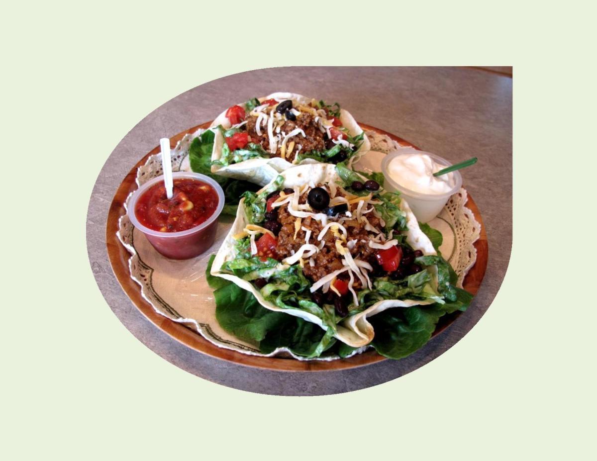 Taco Salad in Edible Tortilla Bowls
