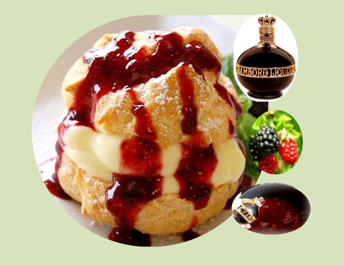 Cream Puffs with Raspberry Chambord Sauce