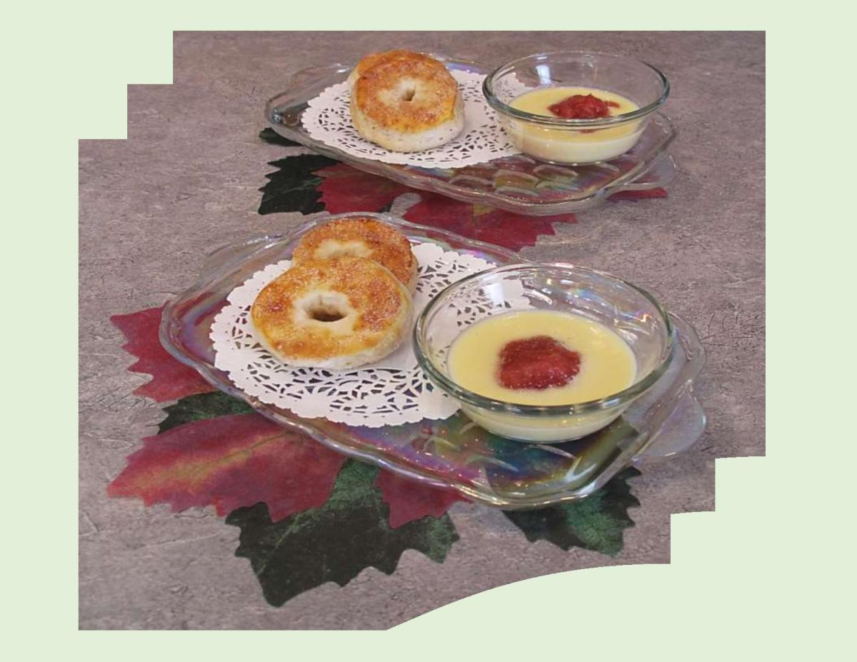 Rhubarb Custard with Mini Donuts