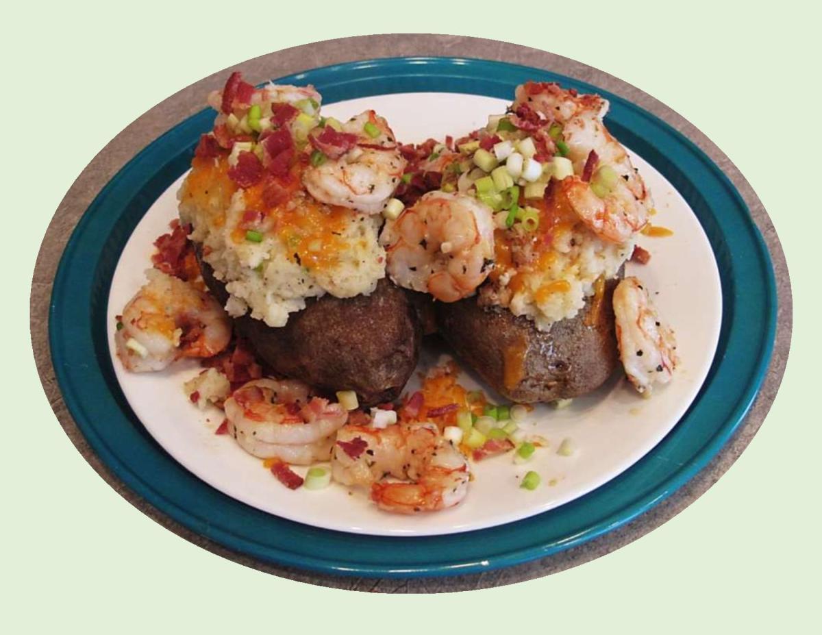 Stuffed Baked Potatoes with Garlic Shrimp