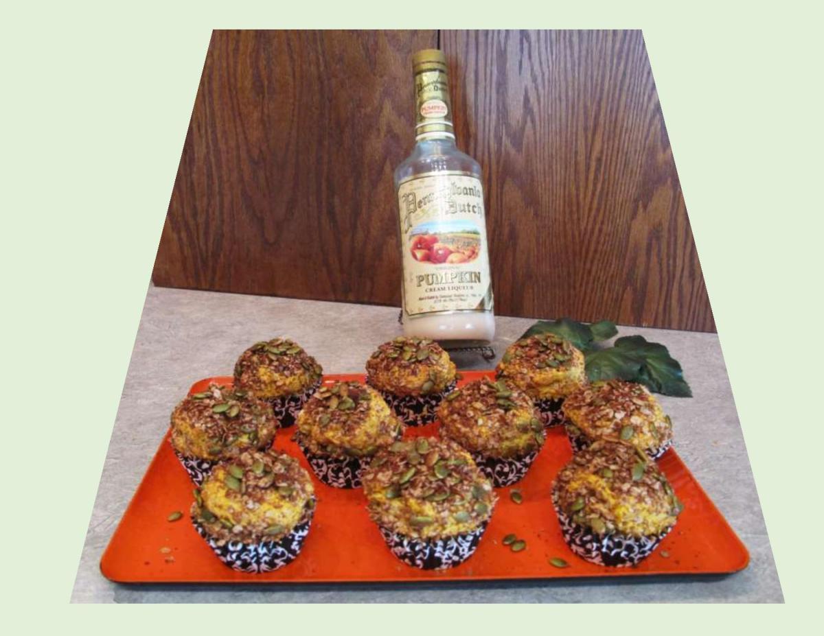 Pumpkin Liqueur Cupcakes with Pepita Oatmeal Topping