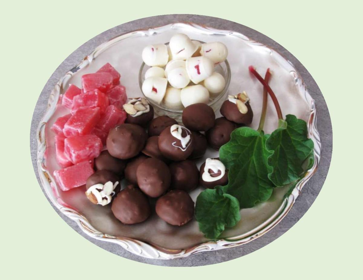 Rhubarb/Rose Turkish Delight & Rhubarb Cream Cheese Truffles