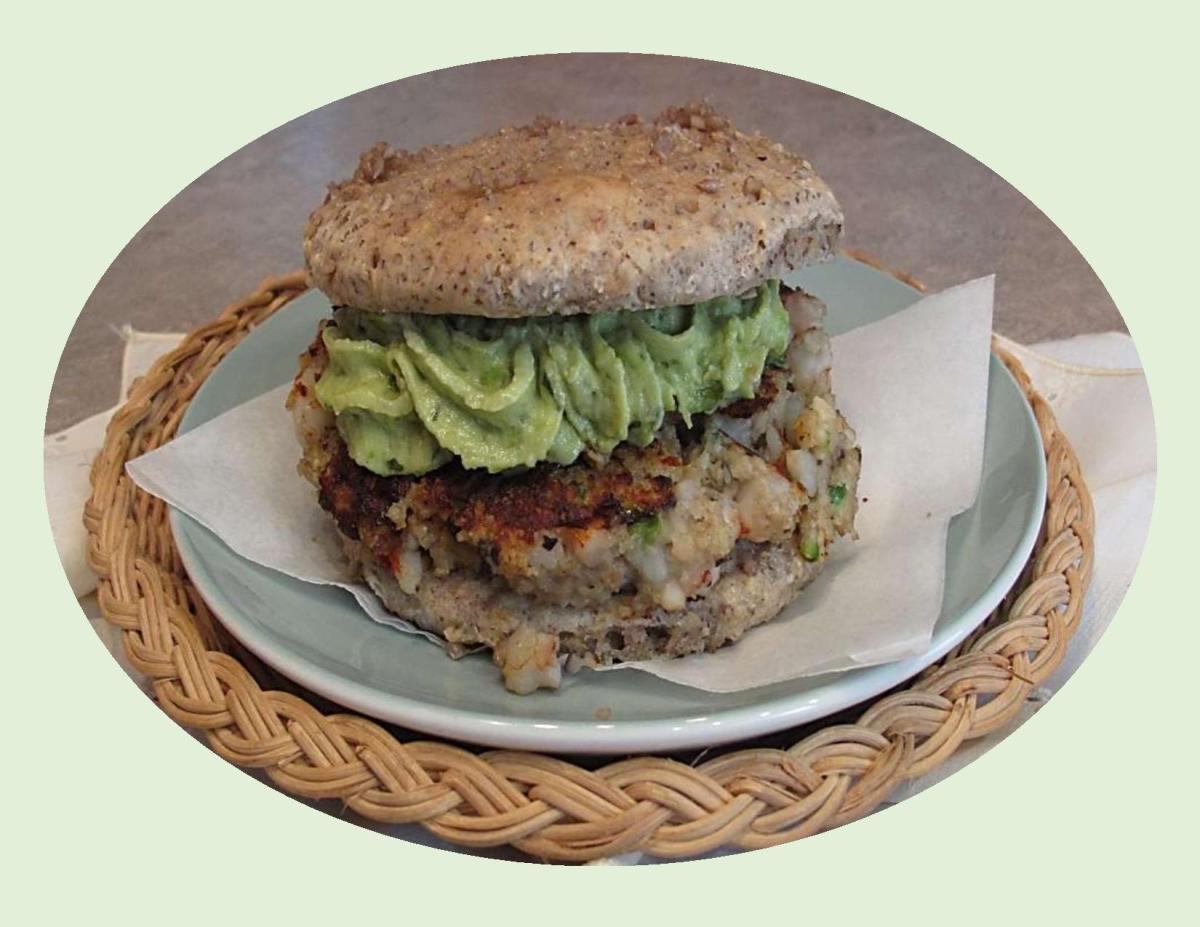 Shrimp Burgers on Seeded Teff Buns