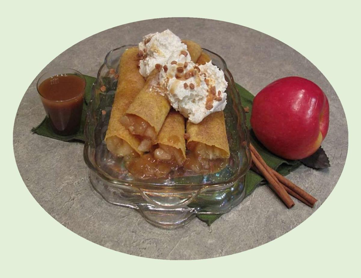 Apple Taquitos with Salted Caramel Sauce