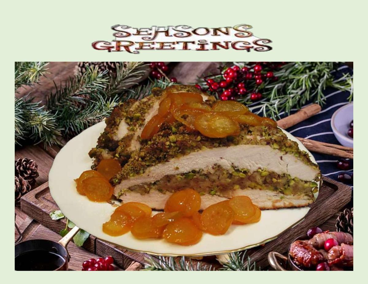 Candied Kumquats over Pistachio Crusted Turkey Breast