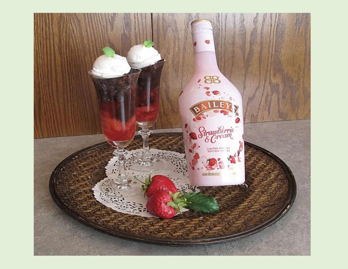 Bailey's Strawberries & Cream Fudge Pudding Parfaits