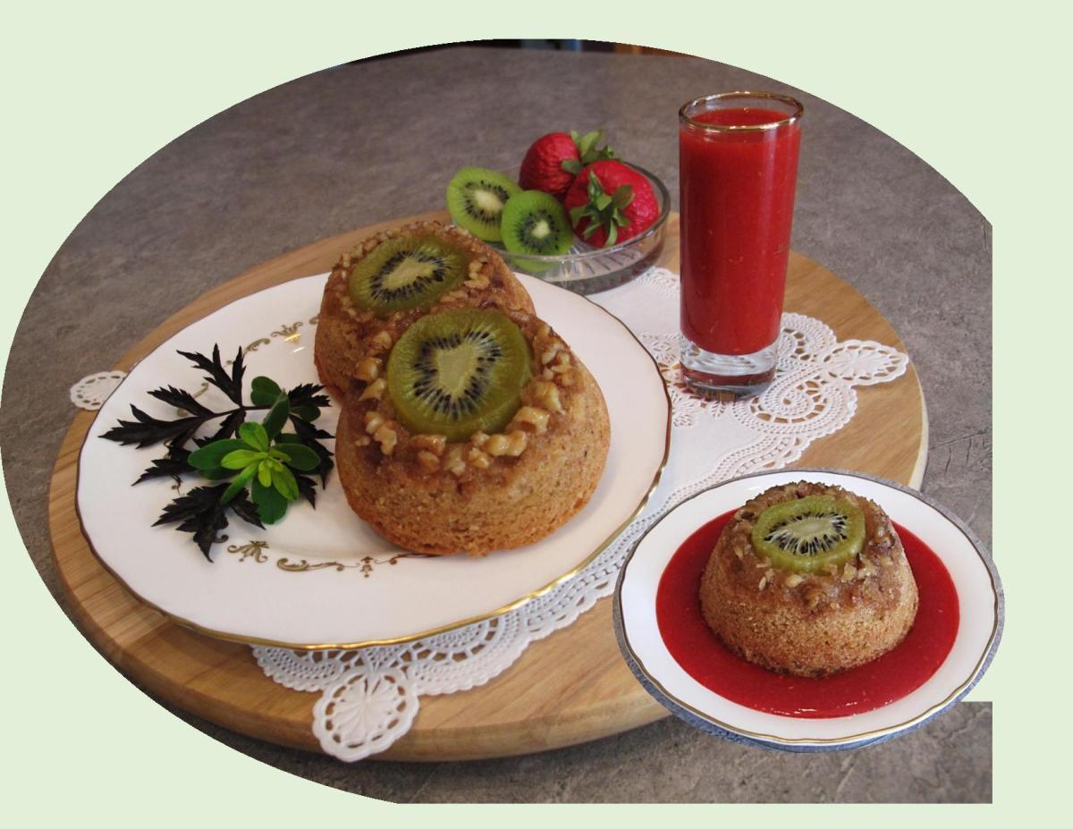 Kiwi Walnut Mini Cakes w/ Strawberry Coulis