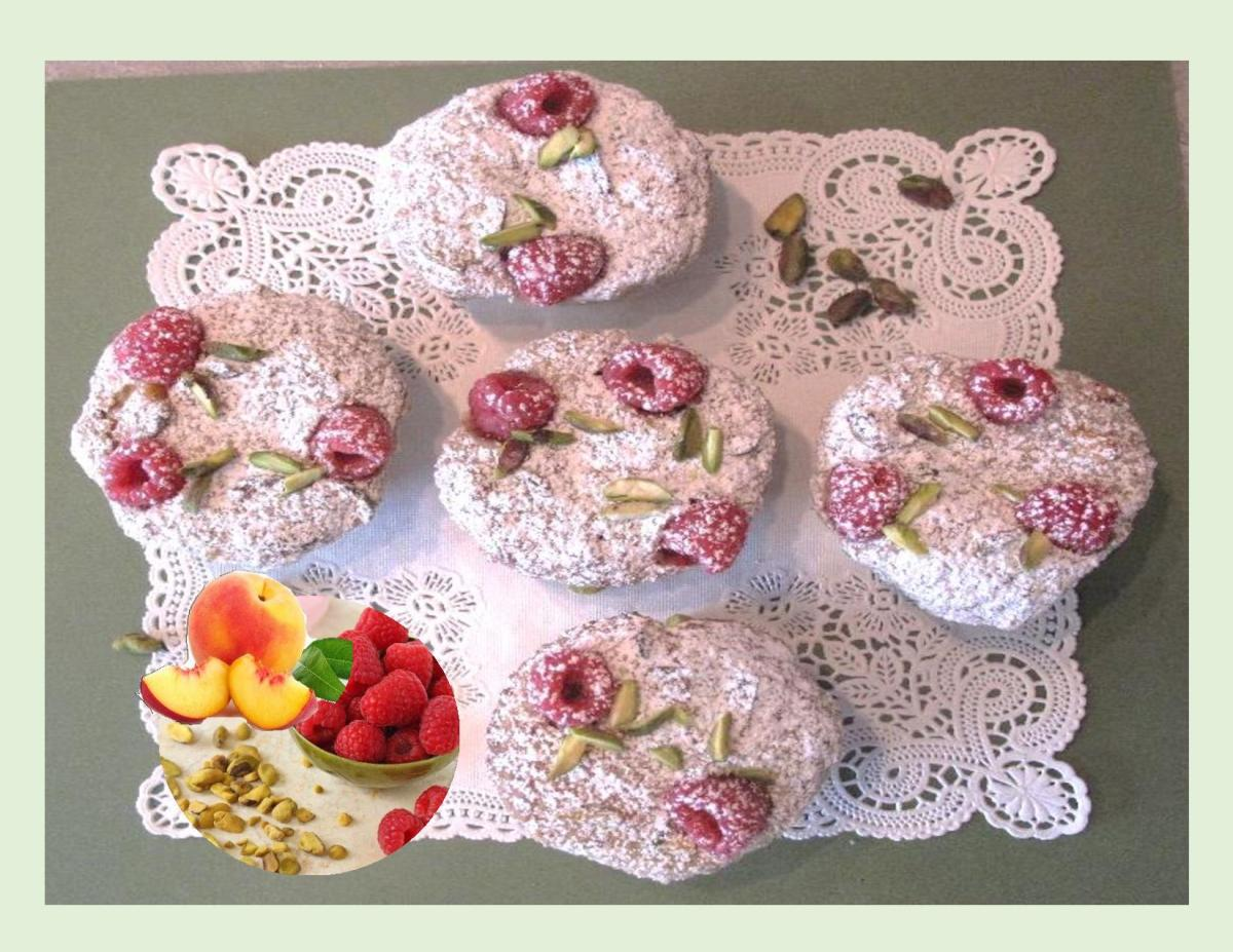 Raspberry Pistachio Muffins w/ Peaches