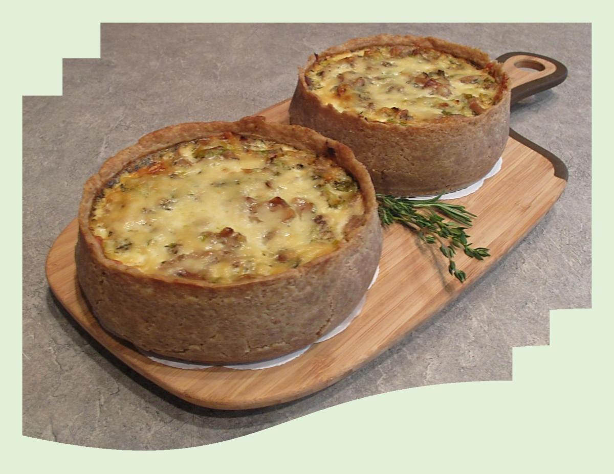 Leek, Turkey & Mushroom Quiche w/ Rye Crust