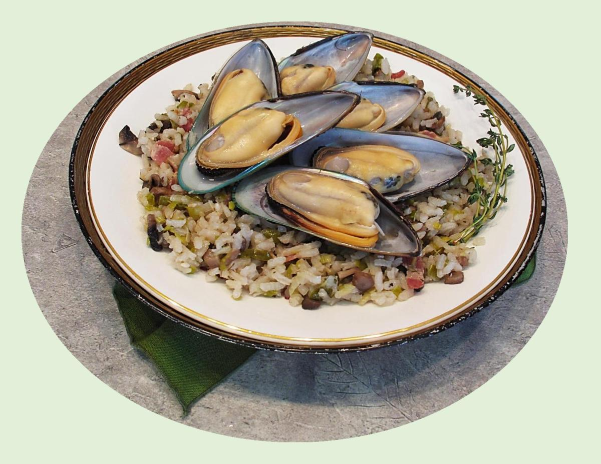 French Mussels w/ Bacon & Leek Risotto