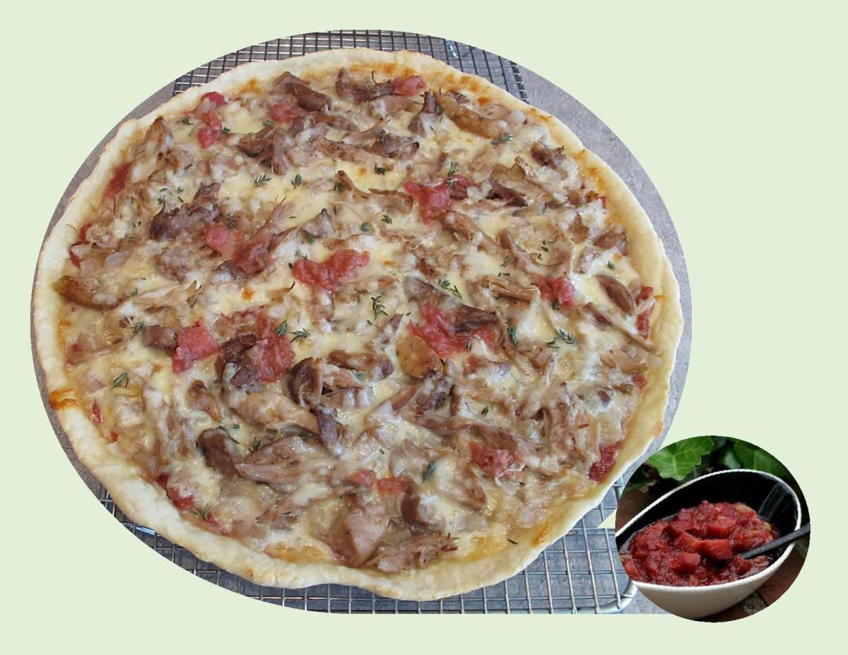 Pulled Turkey Pizza w/ Rhubarb Chutney