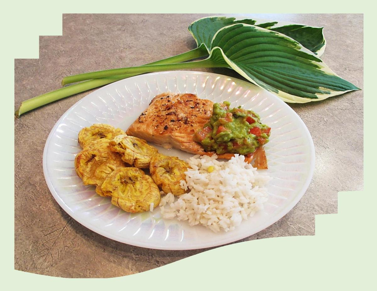 Roasted Salmon & Plantains w/ Guacamole