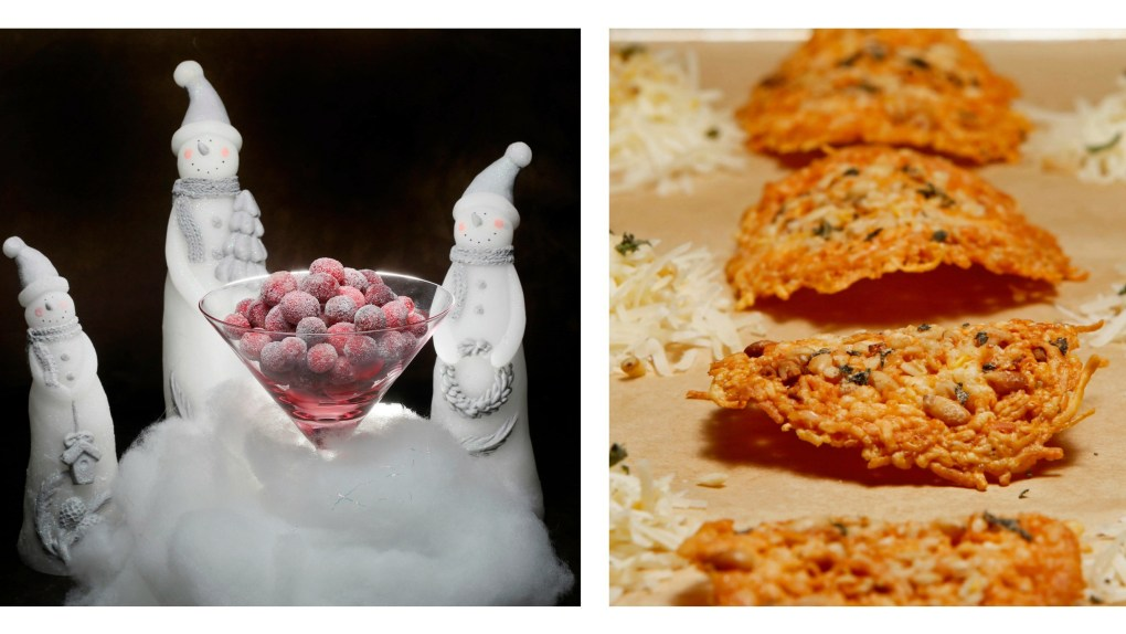 Cranberry snowball cheese crisp collage