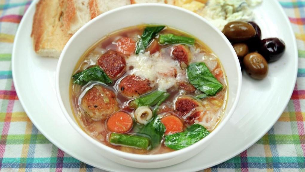 Minestrone Primavera with Chicken Meatballs