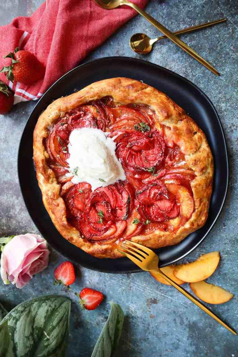strawberry peach galette with vanilla icecream