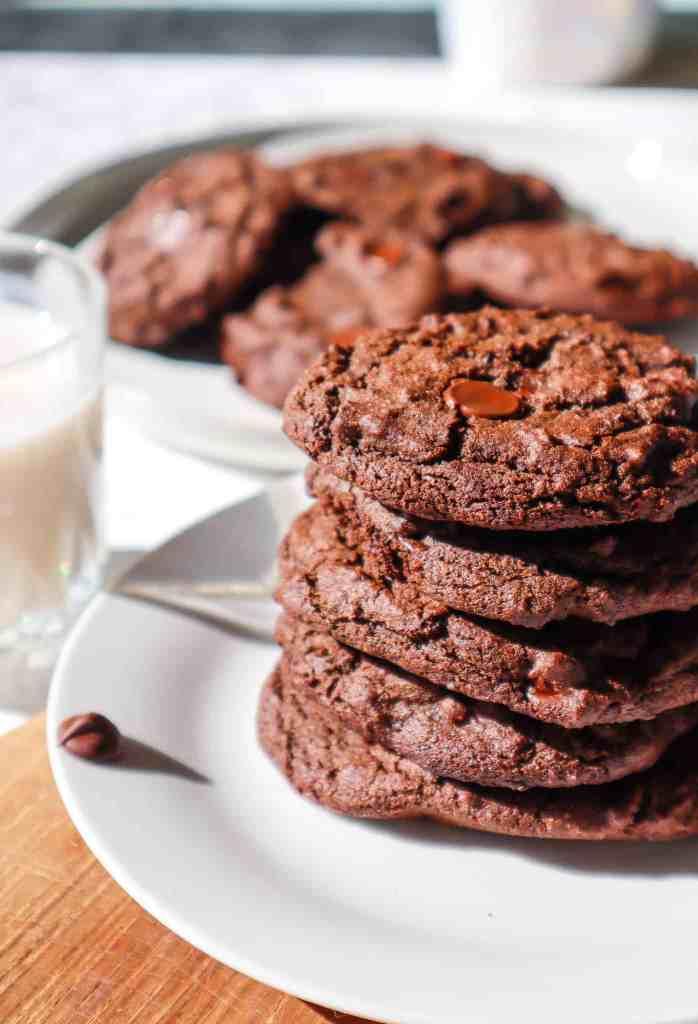 double chocolate chip vegan gluten free cookies
