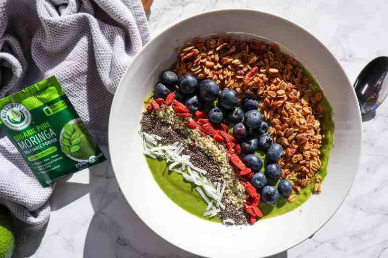 Green Power Smoothie Bowl with Moringa Powder