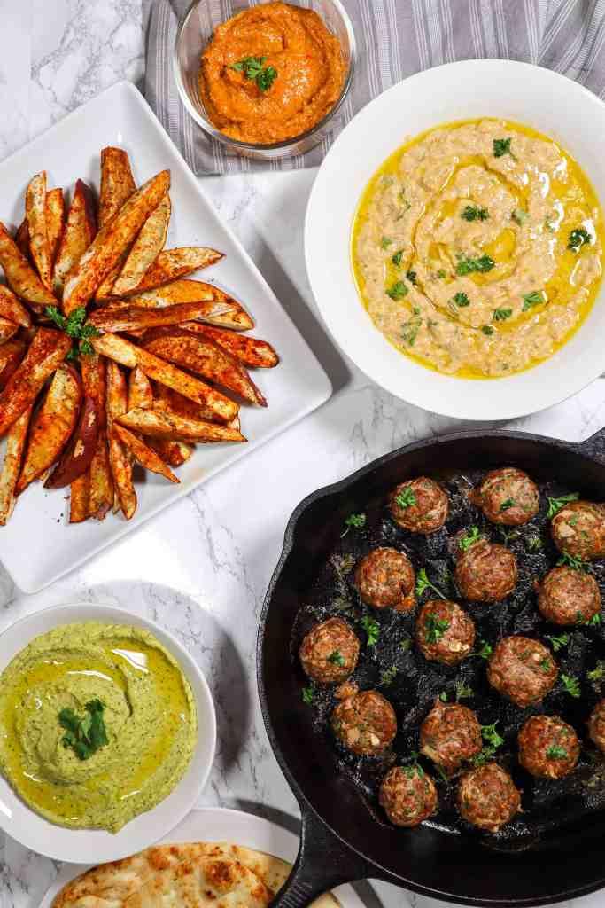 Lamb Kofta with Baba Ganoush Hummus and Sweet Potato Fries