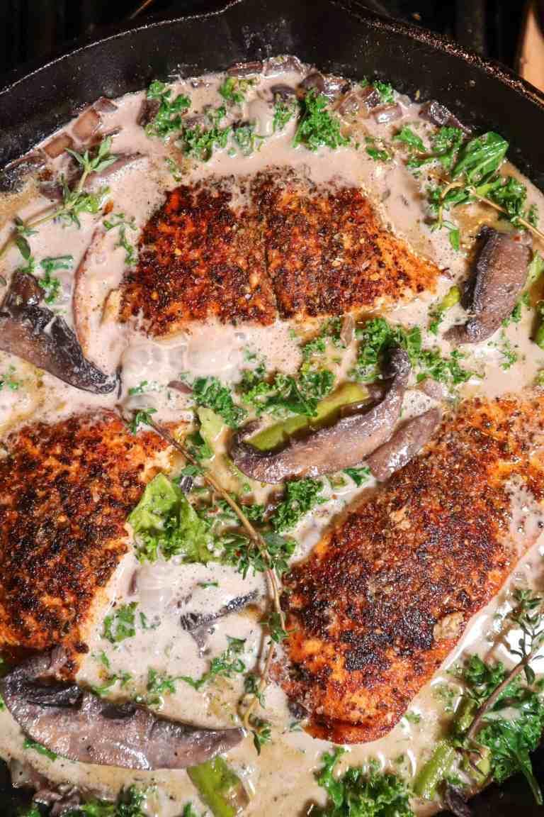 creamy salmon with mushrooms