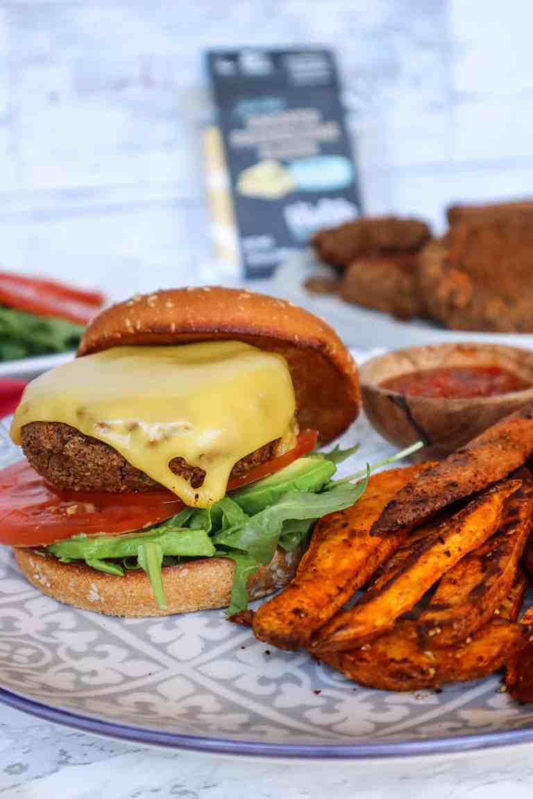 Gluten Free Black Bean Veggie Burger with Vegan Cheese