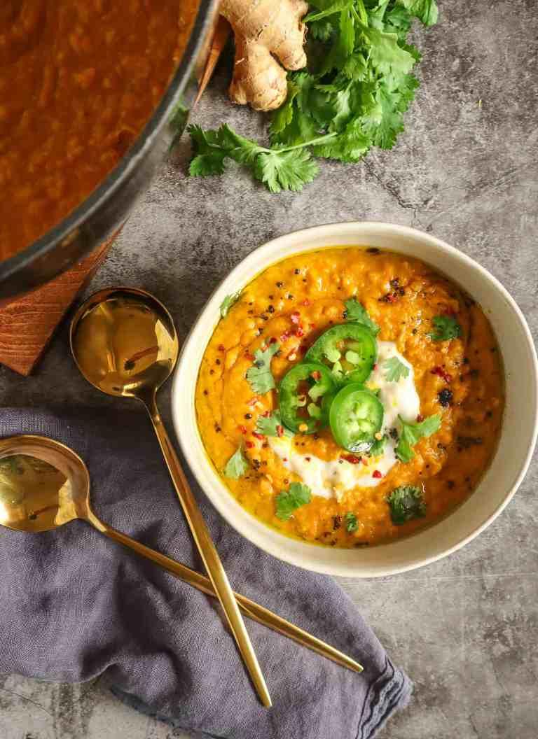 Coconut Carrot Lentil Soup vegan