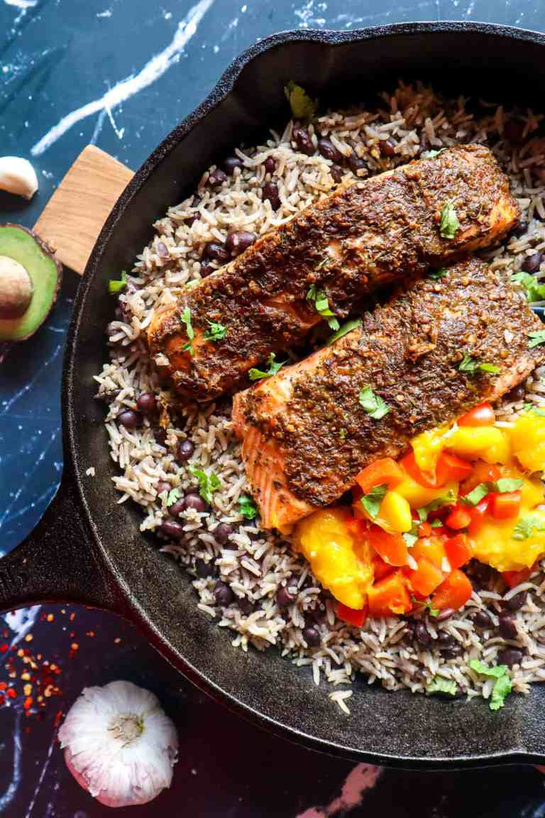 Jerk Salmon Bowl with rice and beans