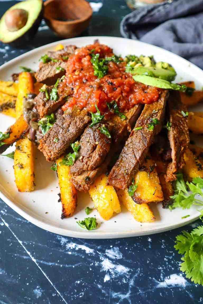 healthy loaded carne asada fries