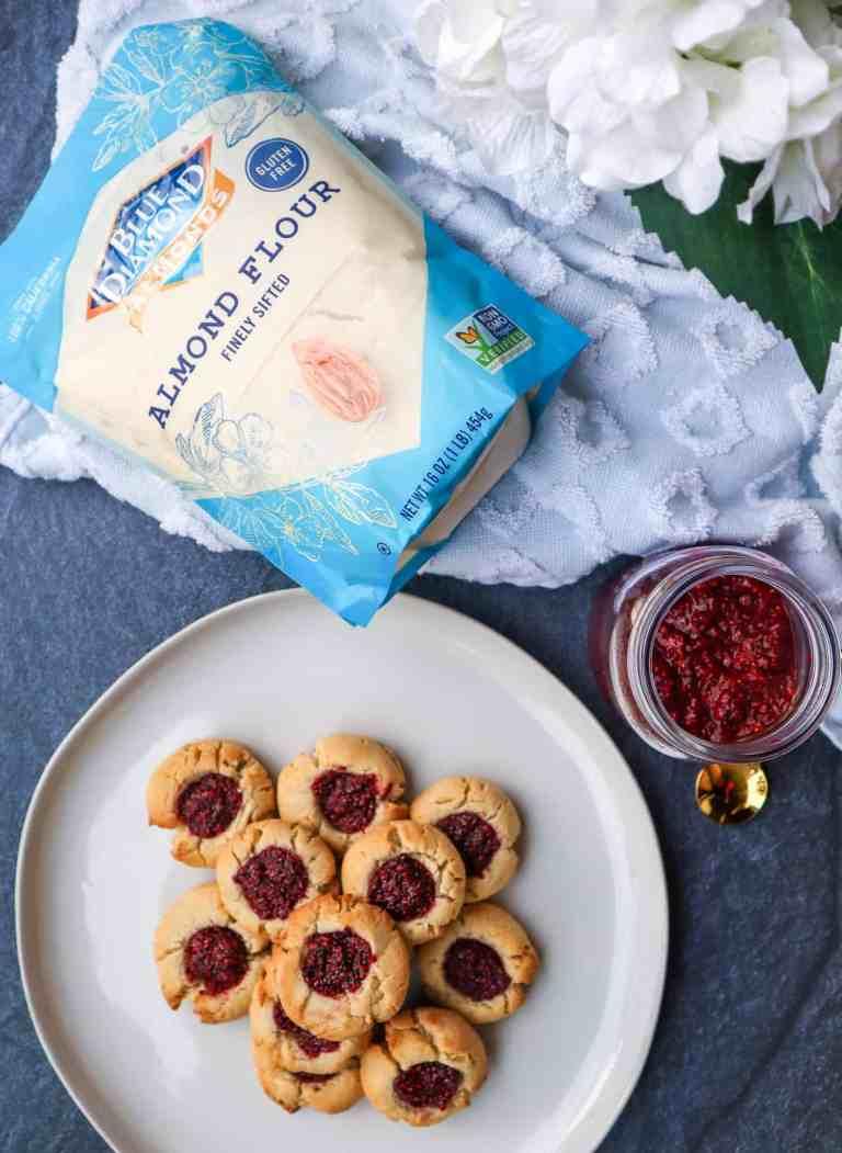 almond flour thumbprint cookies with raspberry jam and bag of blue diamond almond flour gluten free