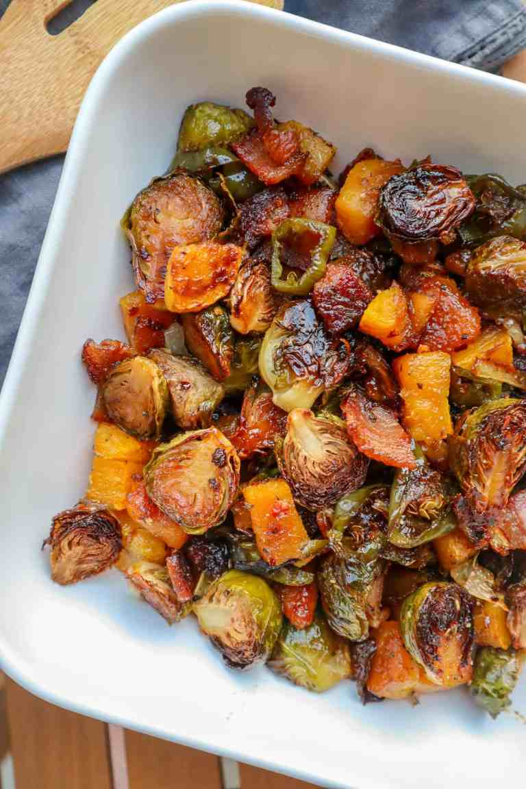 maple roasted brussels sprouts with bacon and butternut squash
