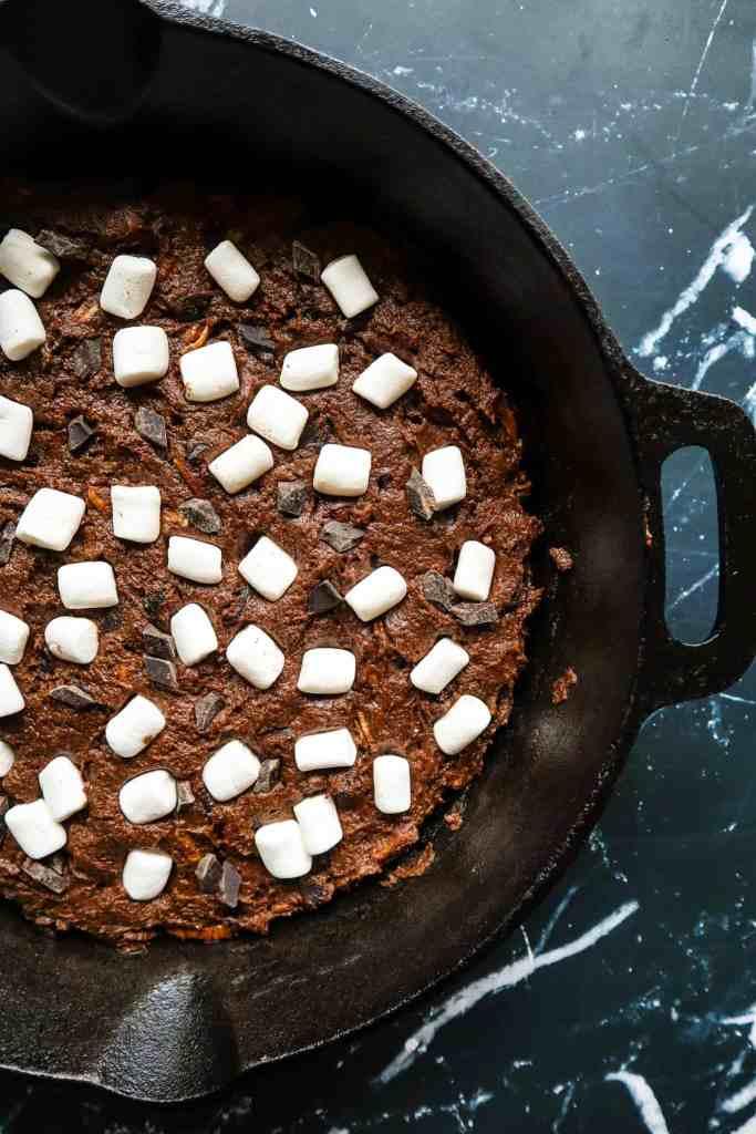 Vegan Gluten Free Skillet Brownie before baking