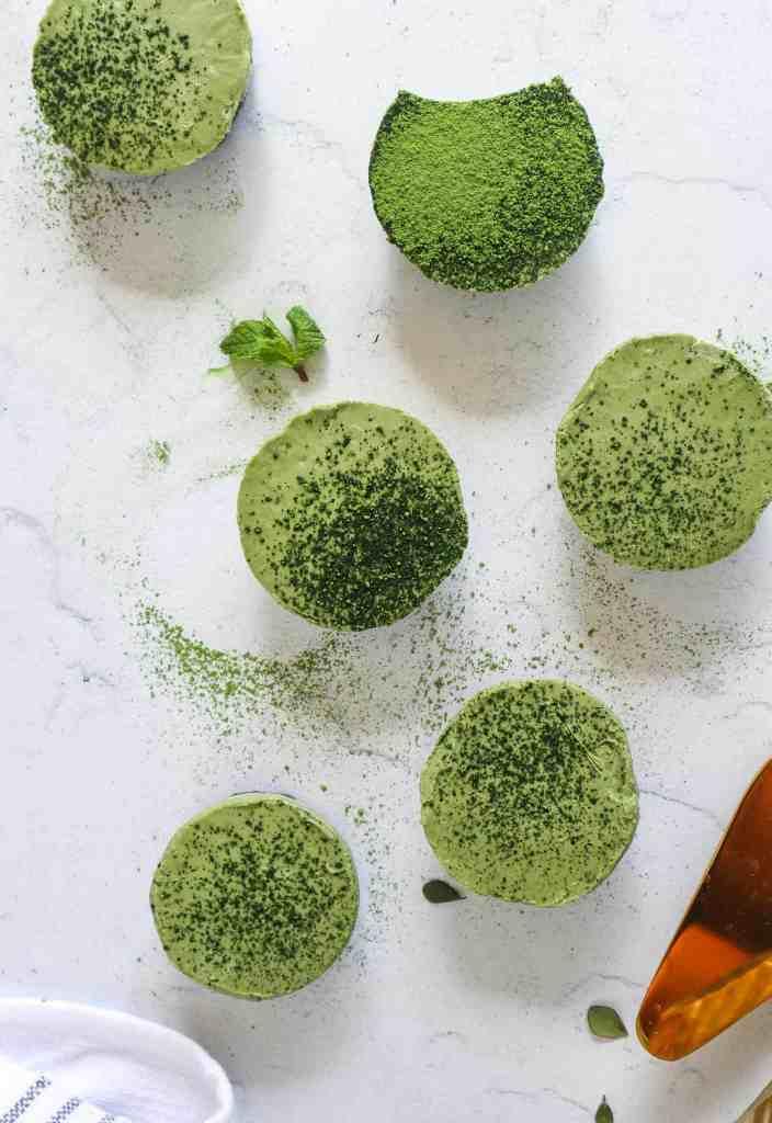 Overhead image of Green Tea Cheesecake (6 shown)